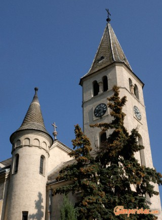 Hungary, Tokaj town, Kossuth square, St. Anne roman catholic church