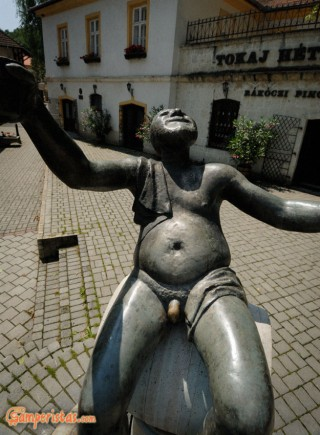 Hungary, Tokaj town, Bacchus statue at Kossuth square
