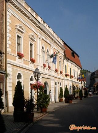 Hungary, Tokaj town, the main pedestrian street (Rakoczi ut), Town Hall