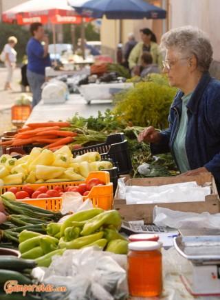 Hungary, Tokaj town, open-air fruits and vegetables market