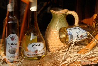 Hungary, Tokaj town, wine bottles
