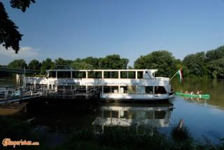 Hungary, Tokaj town, Bodrog river, tourist boat